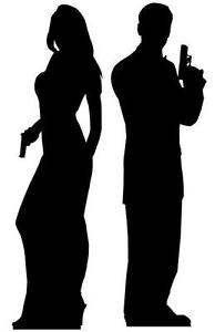 194x300 Secret Agent Double Pack Malefemale Silhouette Lifesize Cardboard
