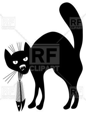 301x400 Silhouette Of Angry Black Cat With Fish Skeleton (Fish Bone)