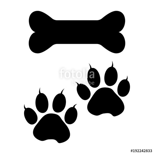 500x500 Bone And Dog Paw Track. Black Silhouette. Vector Illustration