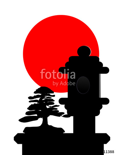375x500 Bonsai Stone Lantern Silhouette With Red Sun Stock Image