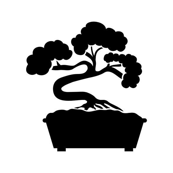 587x587 Bonsai Tree Stencil Template