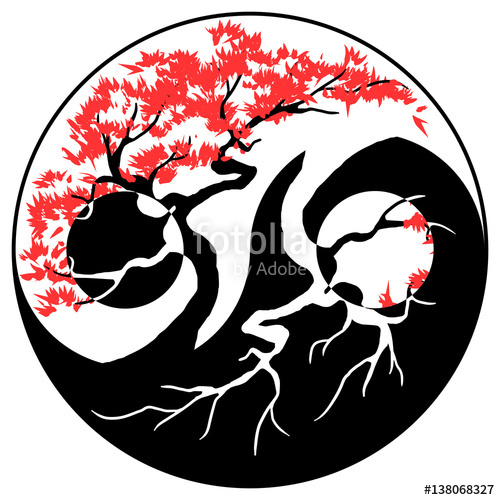500x500 Black And White Bonsai Tree In The Yin Yang Symbol Stock Image