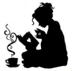 236x233 Girl Reading A Book With Cat And Tea Silhouette