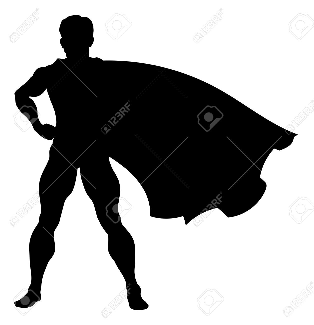 1257x1300 A Comic Book Superhero Silhouette With Cape Flying In The Wind