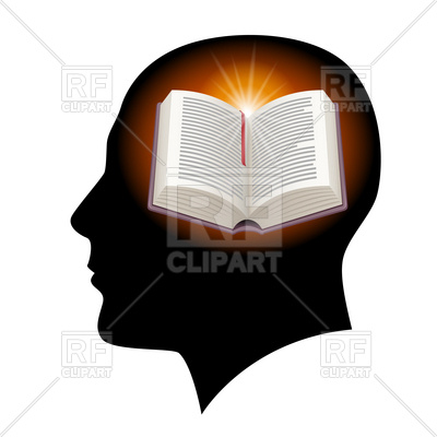 400x400 Male's Head Silhouette With Open Book Inside Royalty Free Vector