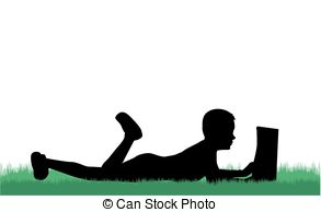 293x194 Child Reading The Book, Silhouette Eps Vector
