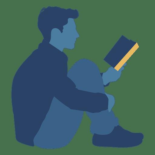 512x512 Man Reading Book Floor Silhouette