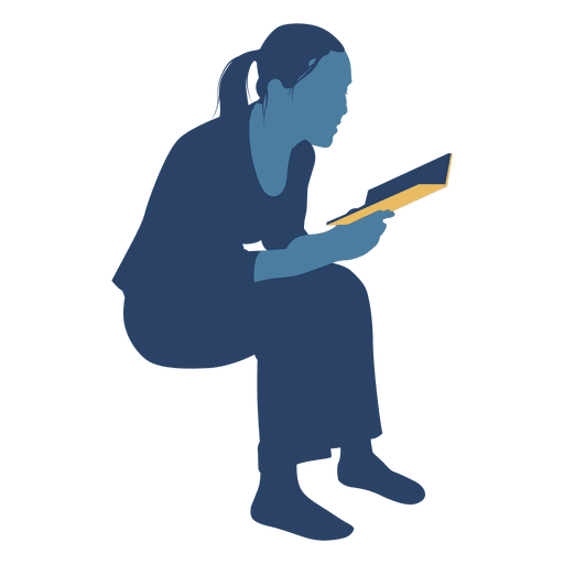 512x512 Woman Reading Book Sitting Silhouette