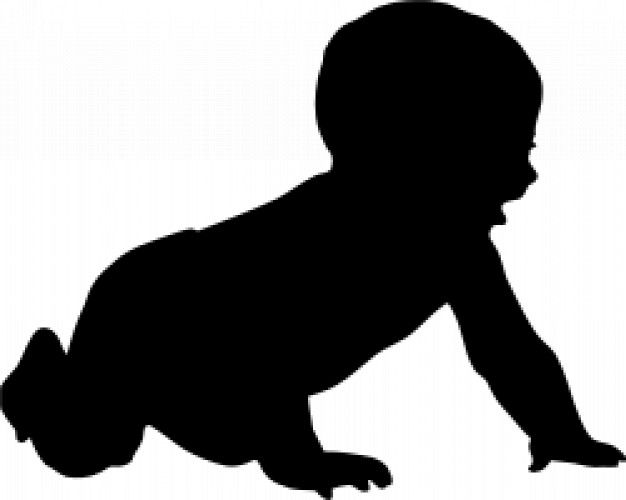 626x500 Silhouettes baby crawling Baby Silhouette Free Vector