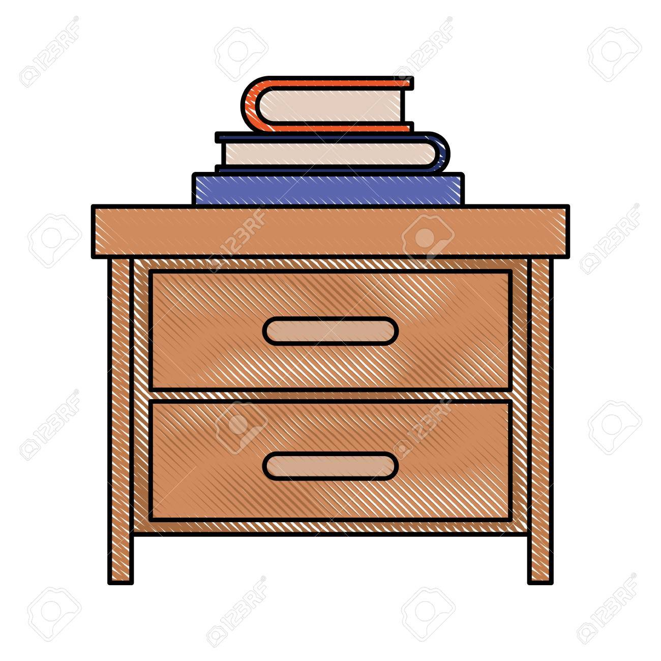 1300x1300 84991547 Nightstand With Stack Books In Color Crayon Silhouette