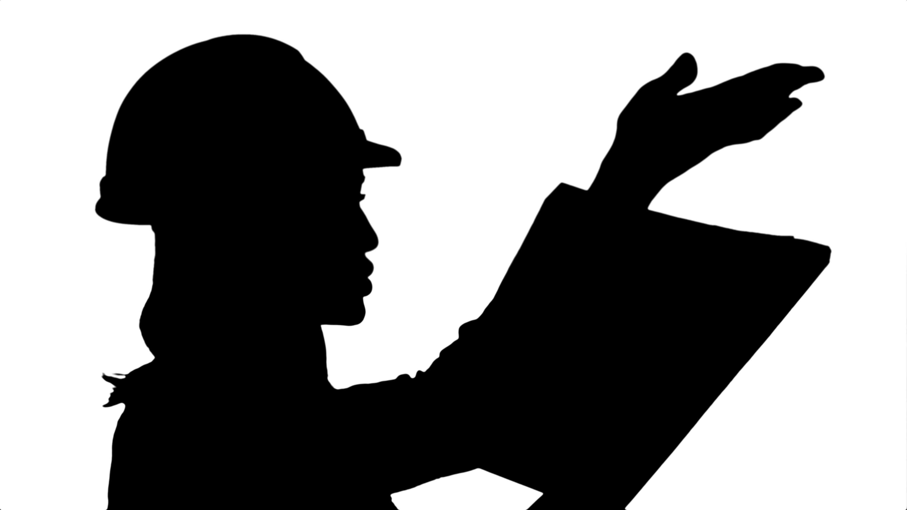 3840x2160 Silhouette Female Construction Engineer Reading Plans And Talk