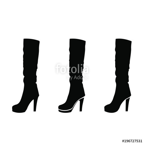 500x500 Silhouette Of Woman Shoes, Set Of Vector Icon. The High Heeled