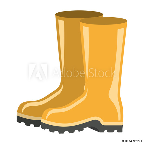 500x500 Colorful Silhouette Of Fishing Plastic Boots Accesory Vector