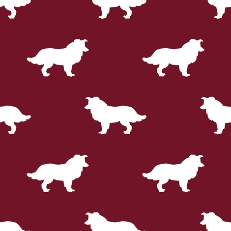 470x470 Border Collie Silhouette Ruby Fabric
