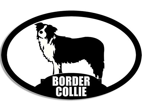 500x390 Oval Border Collie Silhouette Sticker (Dog Breed Decal)