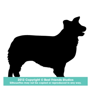 300x300 Border Collie Dog Silhouette Gifts, Stationery, Address Labels