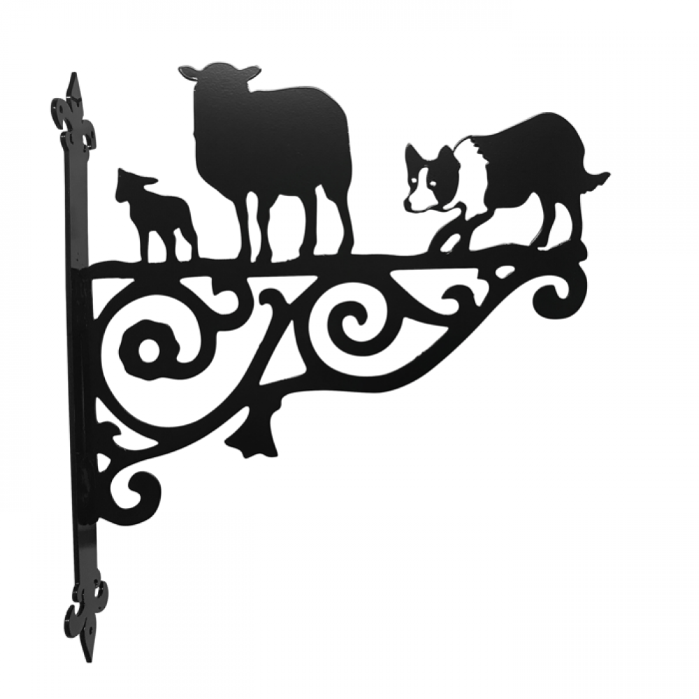 1000x1000 Border Collie Amp Sheep Ornamental Bracket