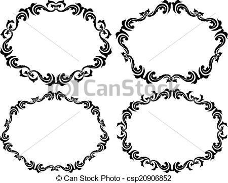 450x361 Silhouette Of Decorative Border Clipart Vector