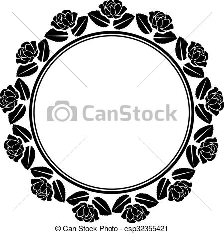 450x468 Silhouette Of Roses Border Vector Illustration
