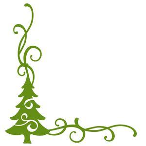 300x300 Christmas Tree Flourish Corner Border Silhouette Design