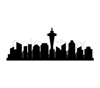 320x280 Seattle City Skyline Silhouette Background, Vector Illustration