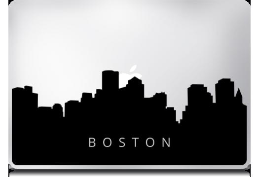 525x359 Boston City Skyline Macbook Stickers Mac Decals