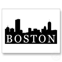 236x236 Boston Usa Skyline And Landmarks Silhouette, Black And White