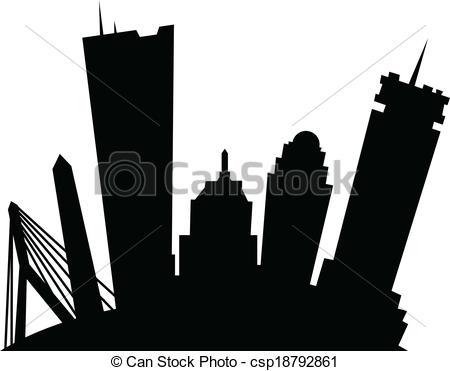 450x371 Cartoon Boston. Cartoon Skyline Silhouette Of The City Of Clip