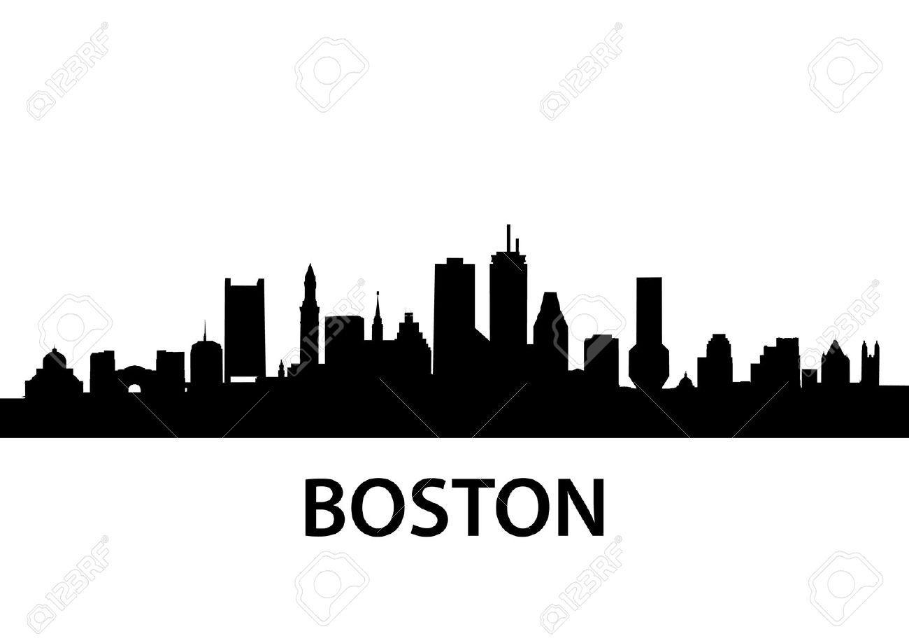 1300x919 Boston Harbor Skyline Outline