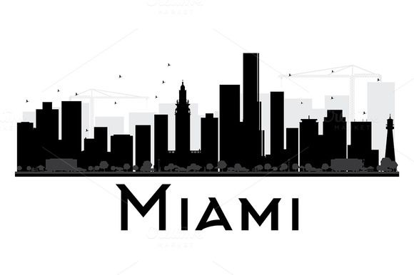 580x386 Miami City Skyline Silhouette Skyline Silhouette, City Skylines