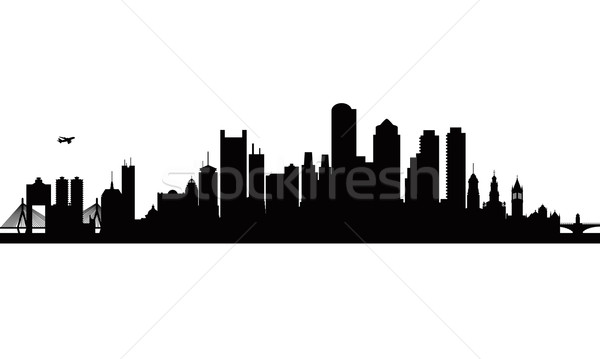 600x359 Boston City Skyline Silhouette Background Vector Illustration