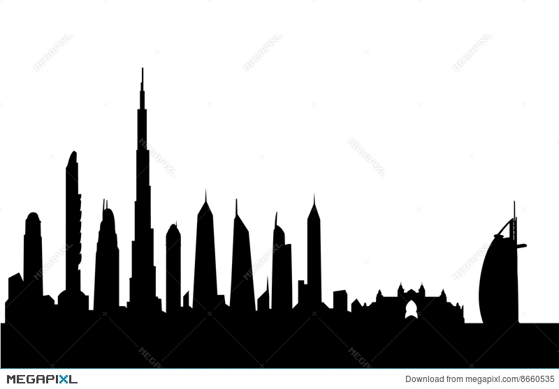 800x558 Dubai Skyline Silhouette Vector Illustration 8660535