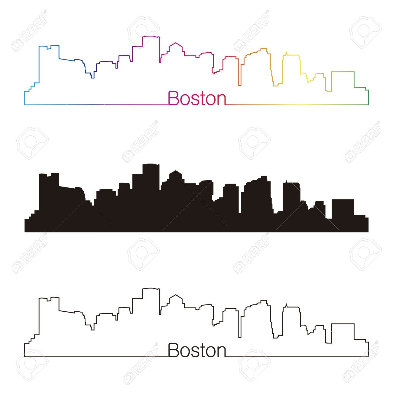 1300x1300 Boston Skyline Linear Style With Rainbow In Editable Vector File