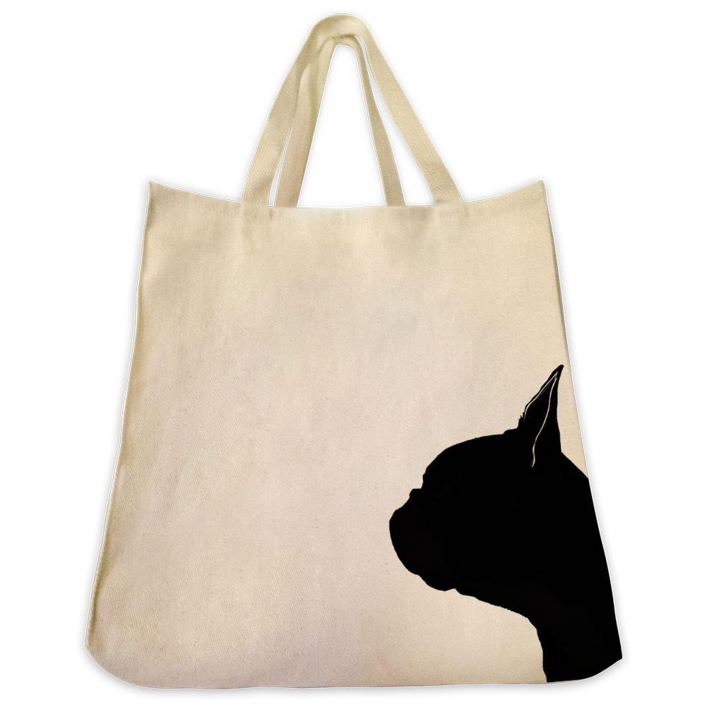 1001x1001 Boston Terrier Silhouette Extra Large Reusable Cotton Canvas Tote