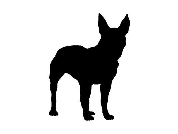 570x428 Boston Terrier V2 Dog Silhouette Custom Die Cut Vinyl Decal
