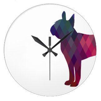 324x324 Boston Terrier Colorful Geometric Silhouette Wallclock Boston