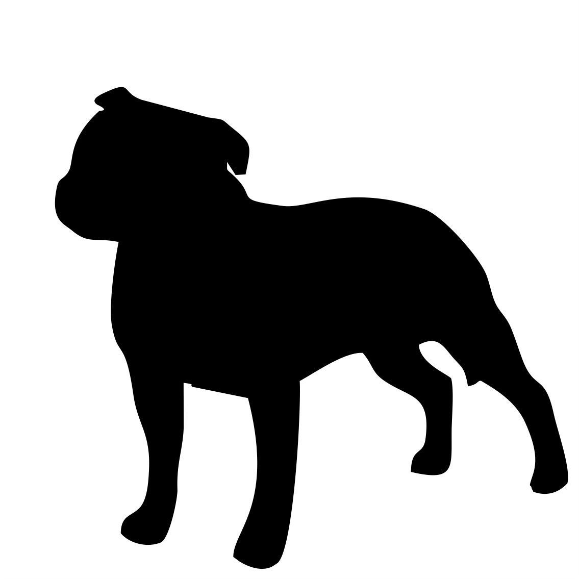 1135x1135 Staffordshire Bull Terrier Silhouette Stickers