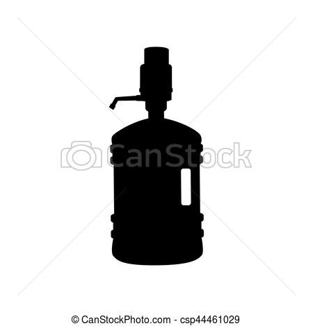 450x470 Plastic Bottle Silhouette With Water And Siphon. Flat Style
