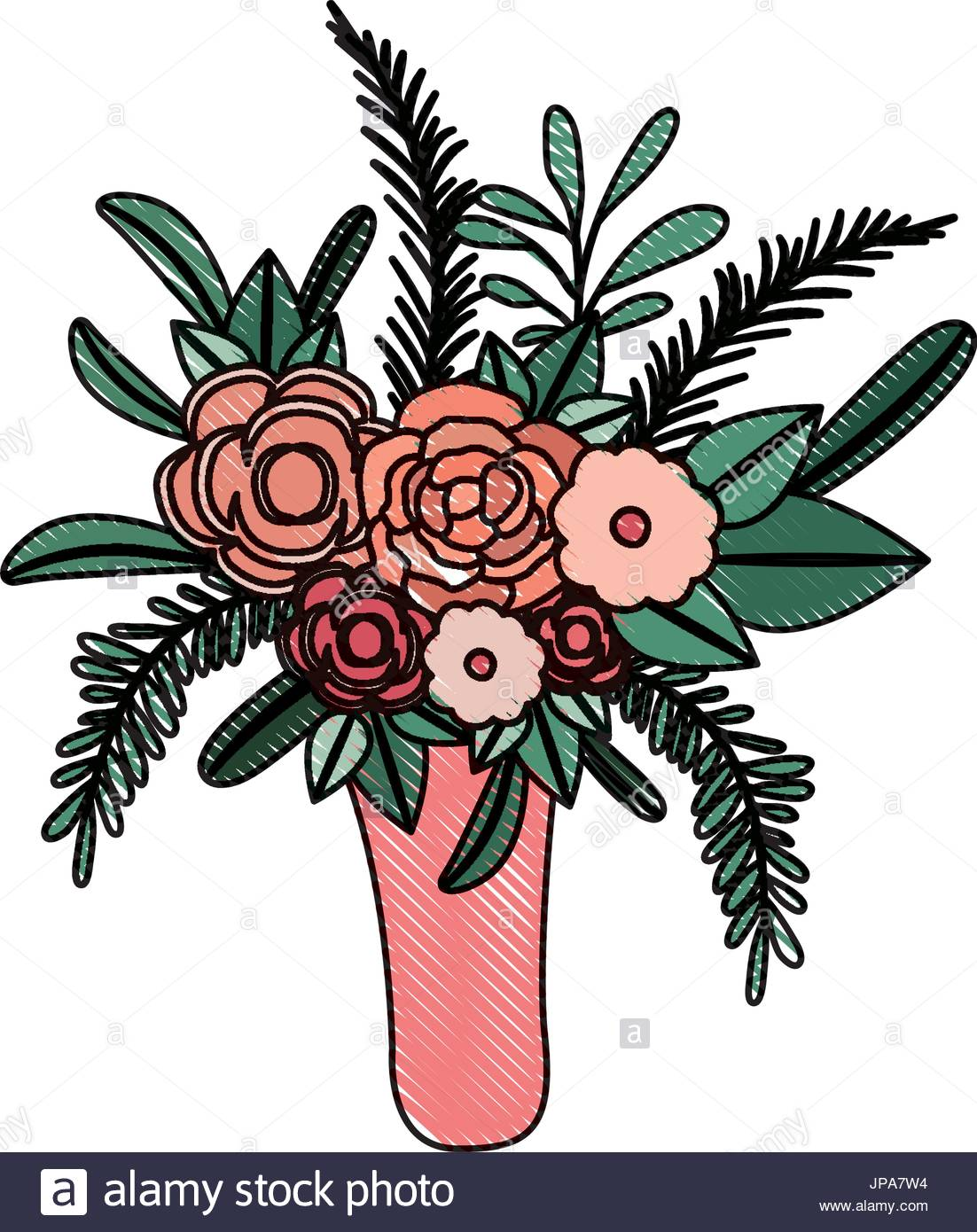 1102x1390 Illustration Silhouette Flower Vase Stock Photos Amp Illustration