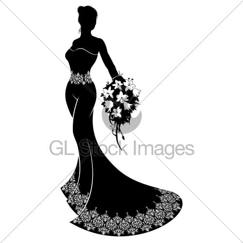 500x500 Wedding Bride Silhouette Bouquet Gl Stock Images