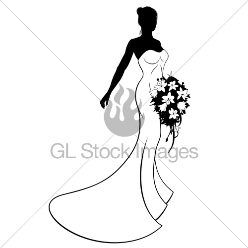 500x500 Wedding Bride Silhouette Holding Bouquet Gl Stock Images