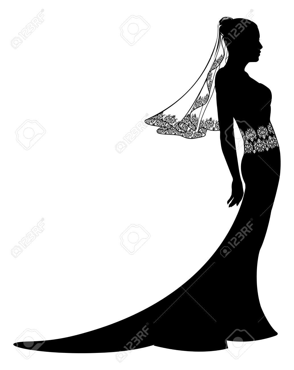 1033x1300 Wedding Dress And Bouquet Bride Silhouette Stock Vector Art