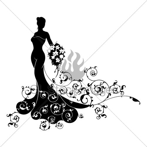 500x500 Bride Bouquet Wedding Silhouette Concept Gl Stock Images