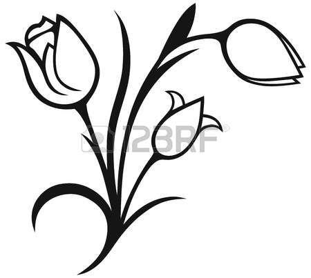 450x403 Pochoir Fleur Bouquet De Tulipes Sur Fond Blanc Silhouette