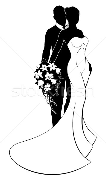 355x600 Bride And Groom Bouquet Wedding Silhouette Vector Illustration