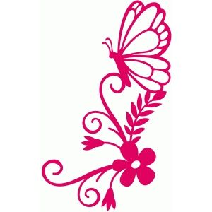 300x300 Butterfly Flourish Bouquet Silhouette Design, Flourish