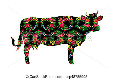 450x314 Cow With Color Circle Bouquet Of Flowers. Silhouette Of Cow