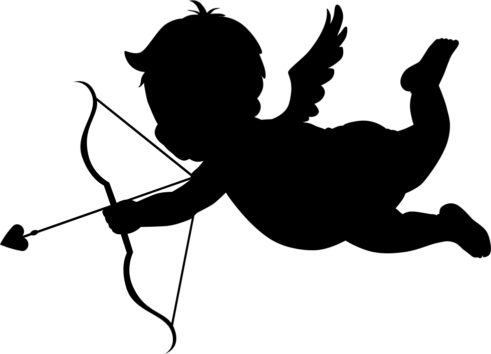 980x707 Cupid In Flight Silhouette With Bow And Arrow Svg Png Icon Free