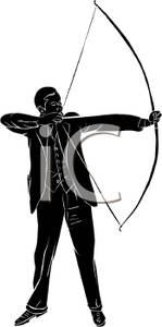 149x300 Silhouette Of A Businessman Shooting A Bow And Arrow