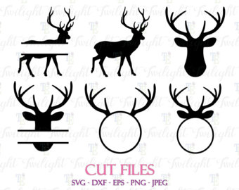 340x270 Deer Monogram Svg Antler Clipart Vector Deer Head Skull Silhouette